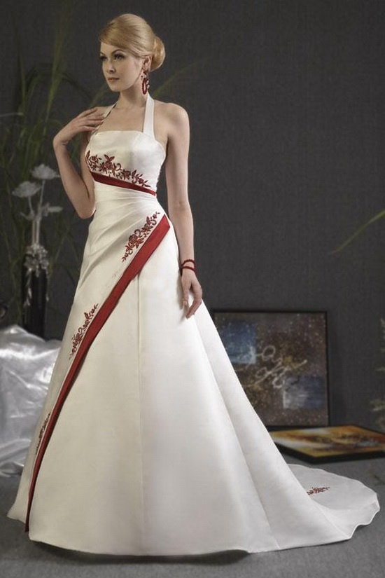 Red And White Wedding Dress A Line Halter Neck