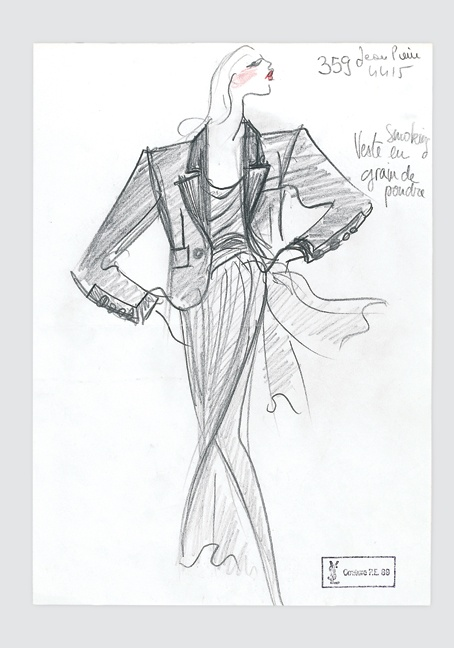 A drawing of an Yves Saint Laurent tuxedo from the 1989 haute couture collection.