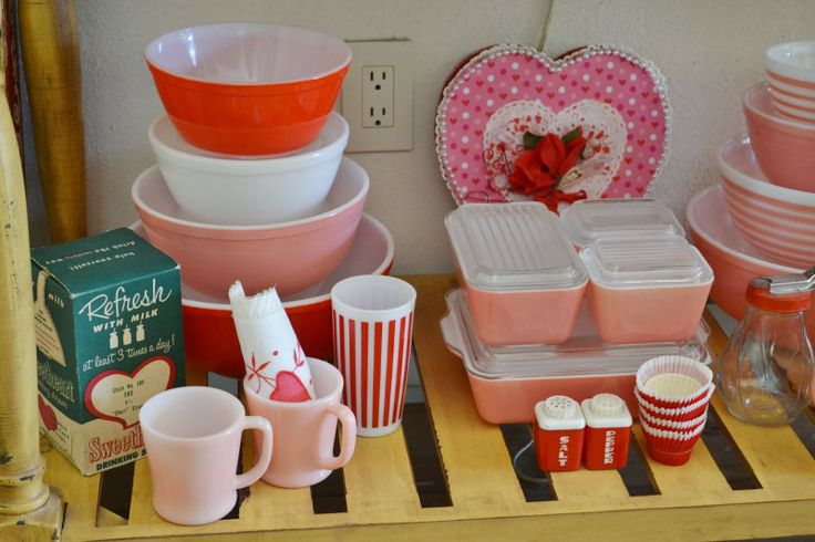 Be on the lookout for pink pyrex... perfect for Valentine's day thrifted projects!
