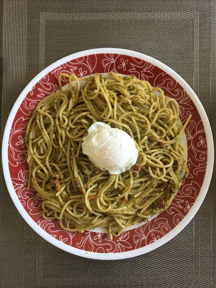 Pesto noodles with 50-50 sauce and boiled egg