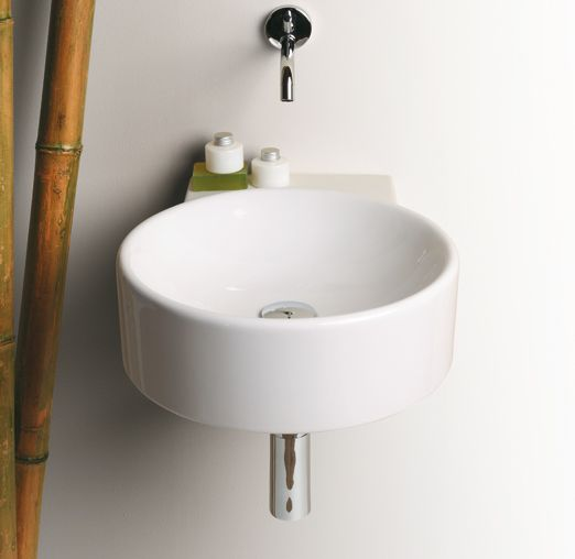 FL14 | Flow Ceramica Simas Round wall hung washbasin 40 pre-punched for single tap hole