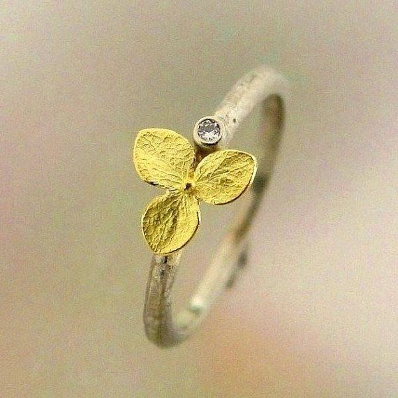 Hydrangea Engagement Ring, Diamond Engagement Ring, White Gold Ring, 18k Yellow Gold, Conflict Free Diamond, Stacking Ring, Made to Order