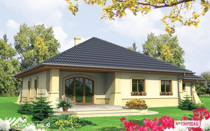A bungalow without basement, with one car garage, designed for 3-5 person family. Night zone and part of a daily zone designed on the ground floor, but uncomplicated functional arrangement of a house let perfectly separate this 2 zones. A daily zone is an open space and the study. Night zone is two allocated bedrooms, the wardrobe and the bathroom.