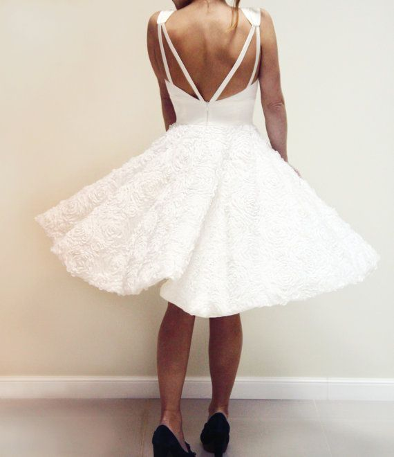 White 3D lace wedding dress Marilyn, custom made silk wedding dress with full circle skirt