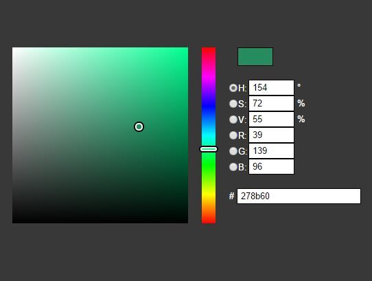 jColor-Picker is a jQuery plugin that helps you create a visual HSL/RGB color picker using HTML5 canvas element and a little JavaScript.