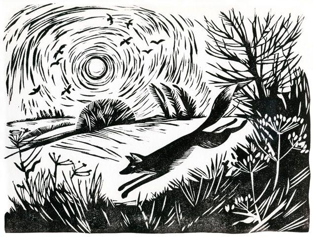 'A fox broke cover, ' 27 x 21 cm, by Celia Hart
