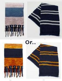 HP Ravenclaw free crochet scarf pattern.  Links for other house scarves.