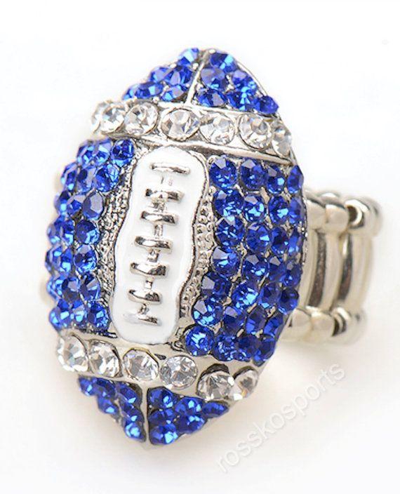 Dallas Cowboys Jewelry Women Girls Blue Rhinestone Football Fashion Bling Ring!