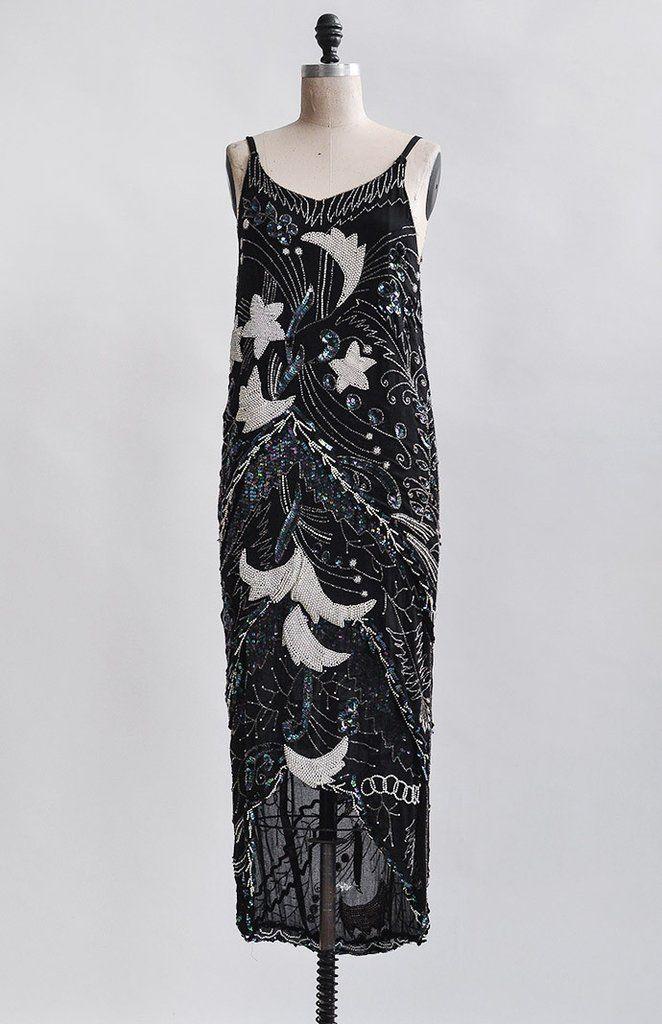 Midnight in Paris Dress / 1920s beaded flapper dress / 1920s inspired