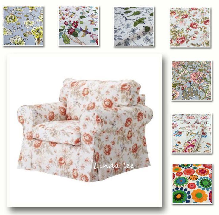 Three-Seat Sofa Cover Custom Made Cover Fits IKEA EKTORP Sofa Patterned Fabric