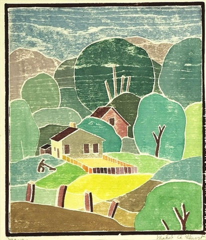 """Mabel Hewit (1903-1984) """"Mowing"""", color woodcut, (11"""" X 9.5"""")"""