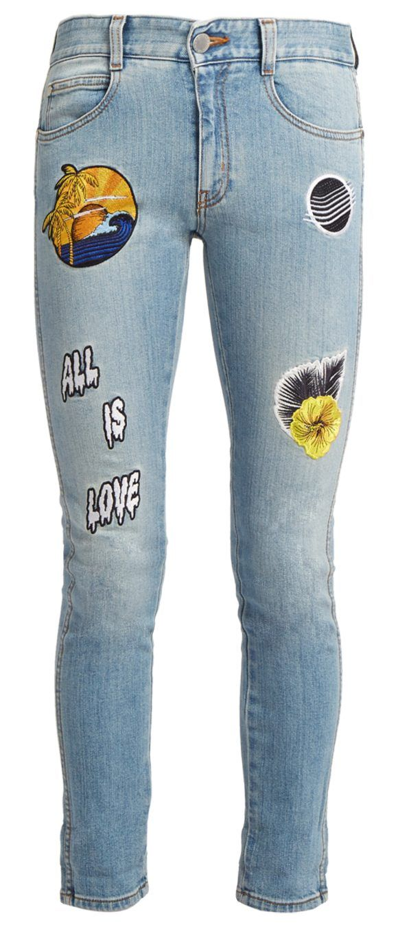 On SALE at 60.00% OFF! All is Love-embroidered cropped skinny-leg jeans by Stella McCartney. These cropped blue jeans illustrate Stella McCartney's upbeat feel-good mood for the new season. They are cut for a s...