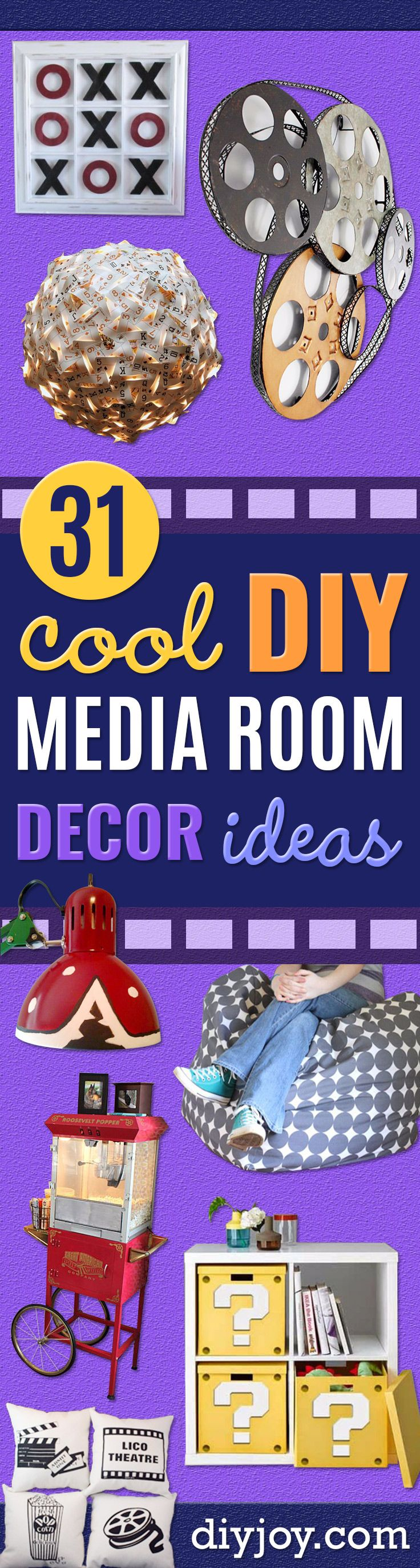 DIY Media Room Ideas - Do It Yourslef TV Consoles, Wall Art, Sofas and Seating, Chairs, TV Stands, Remote Holders and Shelving Tutorials - Creative Furniture for Movie Rooms and Video Game Stations http://diyjoy.com/diy-media-room-ideas