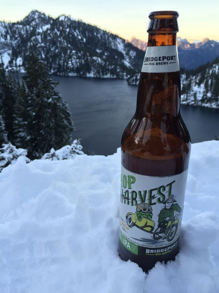Bridgeport Brewing Hop Harvest IPA at dusk overlooking Snow Lake, WA