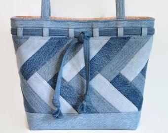 Extra Large Denim Tote bag, handbag or shoulder bag/purse made out of a variety …