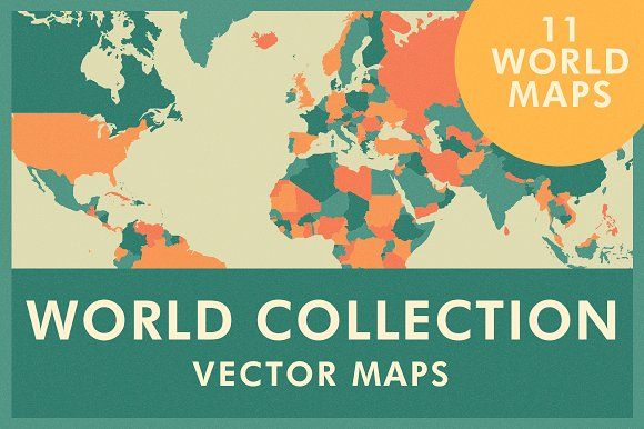 Stylized vector maps of the world. Vector files are layered and labeled. Each country and geographic region can be individually selected and colors changed in layered vector files ($115). #ad #creativemarket #world #worldmap #countries #vector #illustration #icon #infographic #africa #map #asia #australia #canada #america #caribbean #europe #mexico #oceania #southamerica #unitedstates #collection
