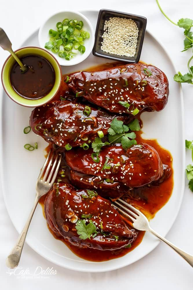 Slow Cooker Asian Glazed Chicken. You could easily make this vegan by using the same sauce recipe with tofu or Quorn!