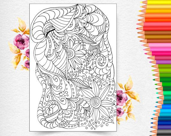 Instant Download Coloring Page for Adult. от AnnaWiltonArt на Etsy