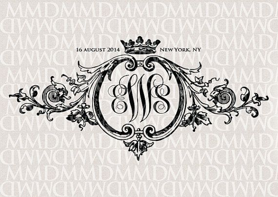 Baroque Ornament & Crown Wedding Monogram Wedding by merrymint