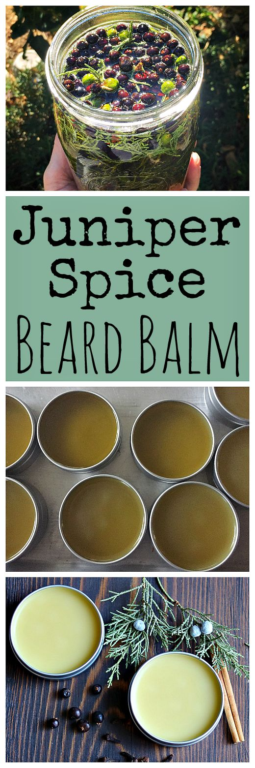 Use foraged juniper twigs and berries and dried spices to make this homemade beard balm recipe! It makes the perfect gift for bearded men.