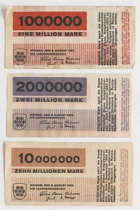 Banknotes, designed for the State Bank of Thuringia, Herbert Bayer, 1923