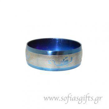 Ανδρικό δαχτυλίδι metal blue σκορπιός
