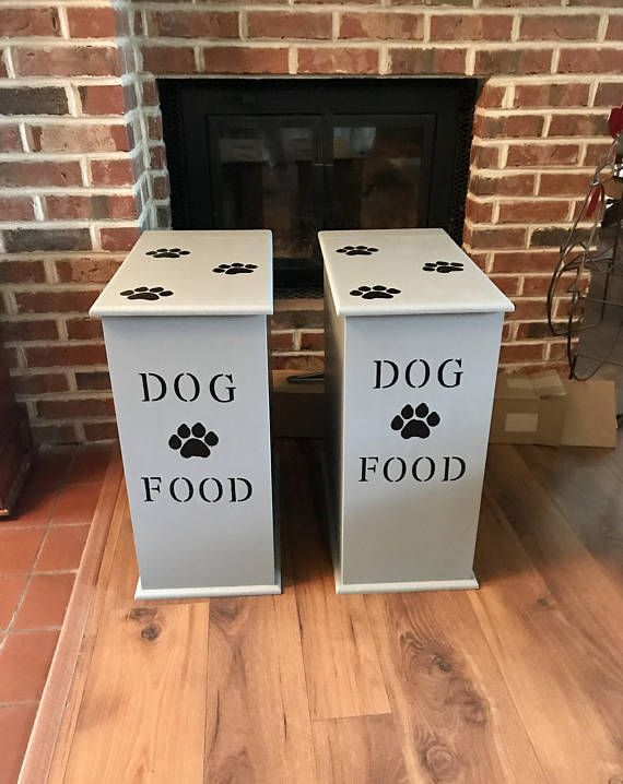 Storing your pet's food has never been so easy or stylish! Made entirely of wood, our food storage containers are made for style and durability! This Dog Food Storage Container is painted in black and white and finished with a light gray paint to give it that great weathered rustic