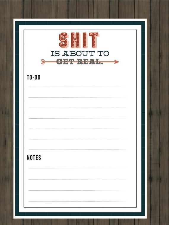 Funny To do list // 4x6 // Printable File PDF by blacklabstudio, $8.00