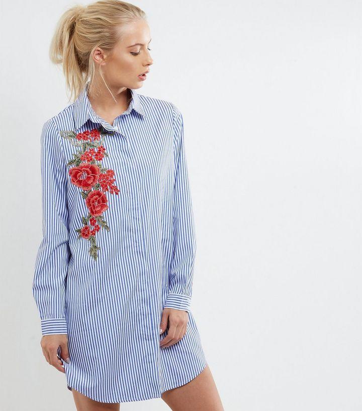Parisian - Chemise bleue à rayures et fleurs brodées | New Look