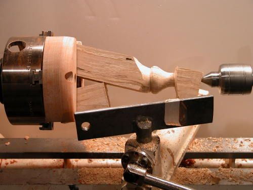 Two-Jaw Chuck by David Reed Smith -- Homemade two-jaw chuck intended to facilitate multi-center and eccentric turning. Hardwood jaws are fabricated to fit a four-jaw chuck. Jaws incorporate both shallow and deep steps for mounting thin work or glue chucks. http://www.homemadetools.net/homemade-two-jaw-chuck-2