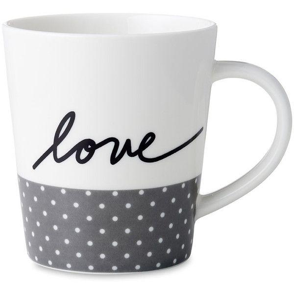 Royal Doulton Ellen DeGeneres Love Mug - Grey Dots (16 CAD) ❤ liked on Polyvore featuring home, kitchen & dining, drinkware, grey, polka dot mugs, quote coffee mugs, royal doulton mugs, grey mugs and porcelain tea mugs