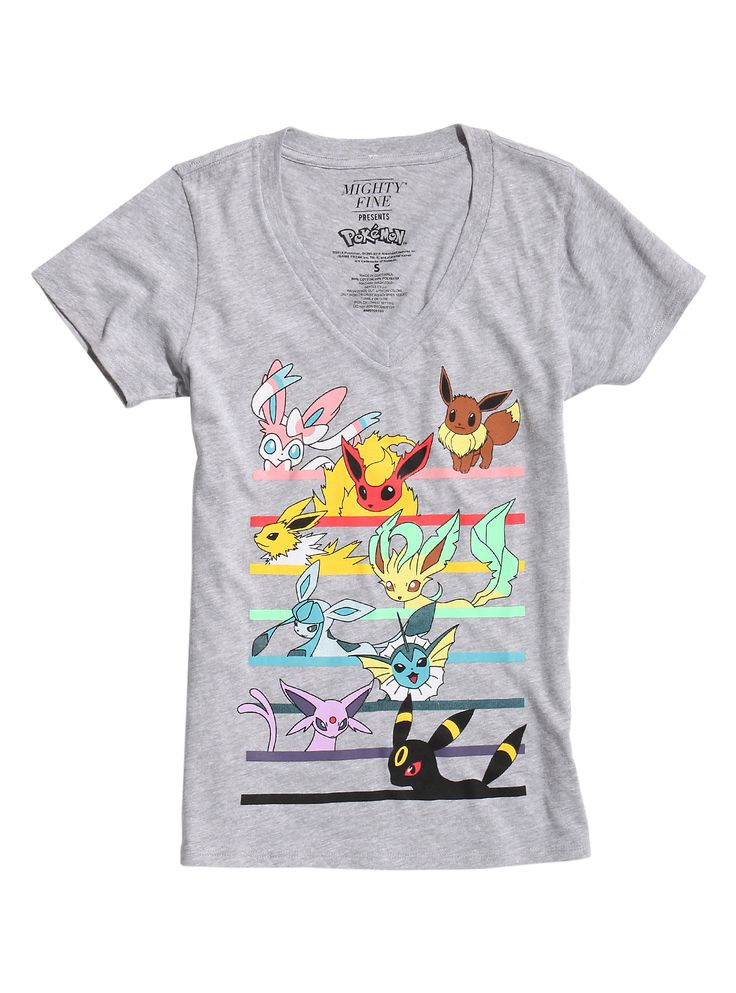 <p>Gotta Catch 'Em All? Well, grab your phone and <i>Pokemon GO</i> in this fitted grey heather V-neck tee from <i>Pokemon</i> featuring a large colorful design of Eevee Evolutions on the front.</p> <ul> <li>90% cotton; 10% polyester</li> <li>Wash cold; dry low</li> <li>Imported</li> <li>Listed in junior sizes</li> </ul>