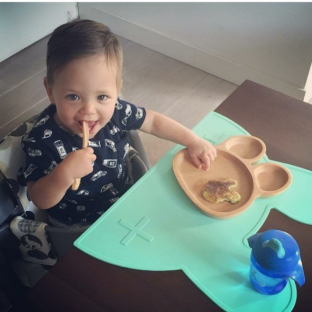 Look at you baby Jack eating your bunny-shaped pancake on your bunny-shaped…