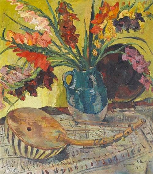 Artwork by Irma Stern, Still Life of gladioli and a musical instrument, Made of oil on canvas