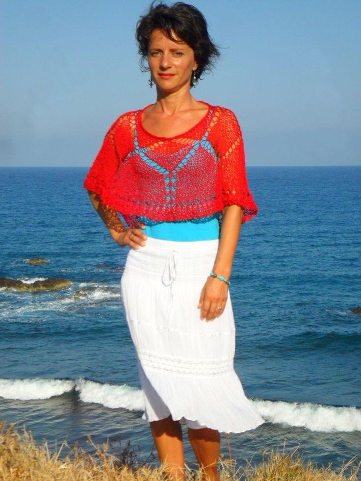 Red, elegant lacy cape by SimonaStyleByHand on Etsy