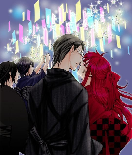 Grelliam Grell x William~Black Butler  -and a little sebastian x ciel in the background XD-