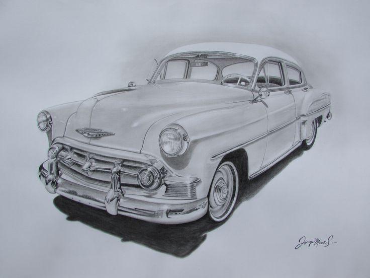 Auto antiguo, dibujo lápiz grafito