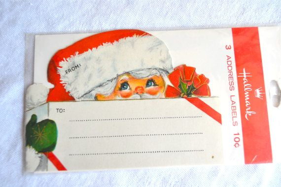 Vintage Santa Address Labels Hallmark by Pumpkintruckpaper