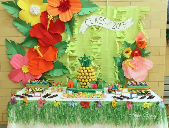 Gorgeous luau theme dessert table decoration and pineapple made of cake pop center piece!!!