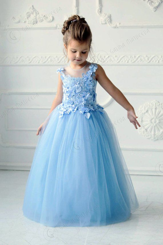 Blue Flower Girl First Birthday Dress Blue Tutu Dress