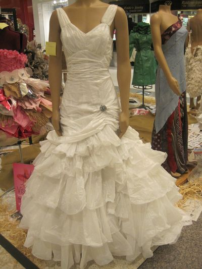 Even though this wedding dress is made out of plastic garbage bags, it looks like a million bucks to me!