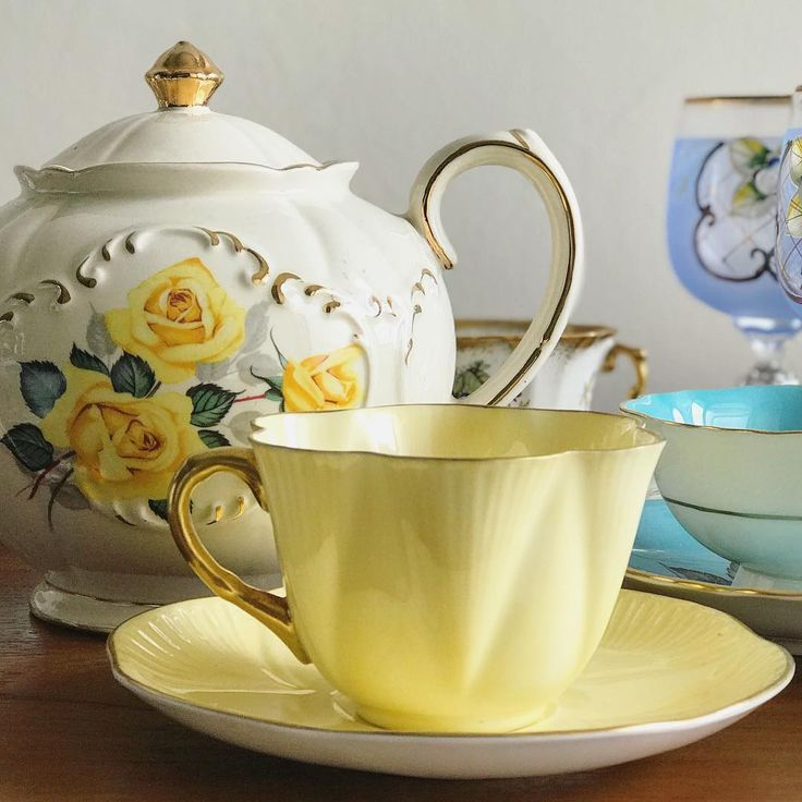 "Vintage Yellow Teacup by Shelley ""Dainty"""