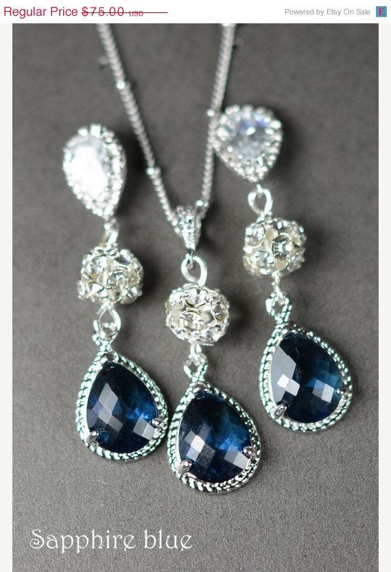 20OFF Navy bluesapphire blue Wedding by thefabbridaljewelry, $35.99