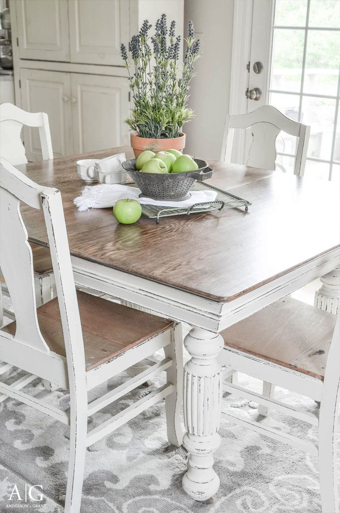 See How Grandma S Antique Dining Table And Chairs Is Transformed And Updated With Chalk Paint Antique Dining Tables Antique Dining Rooms Dining Table Makeover