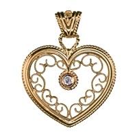 Kalevala Jewelry, Filigree charm, 18 carat gold, Diamond 0,06 ct W/VS $1385