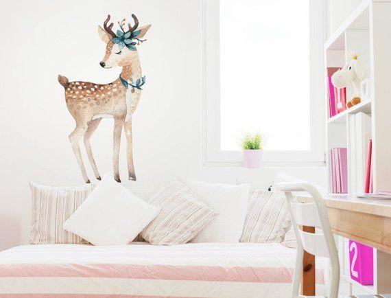 Wall Tattoo Nursery Forest Animals Deer With Flowers Jewellery