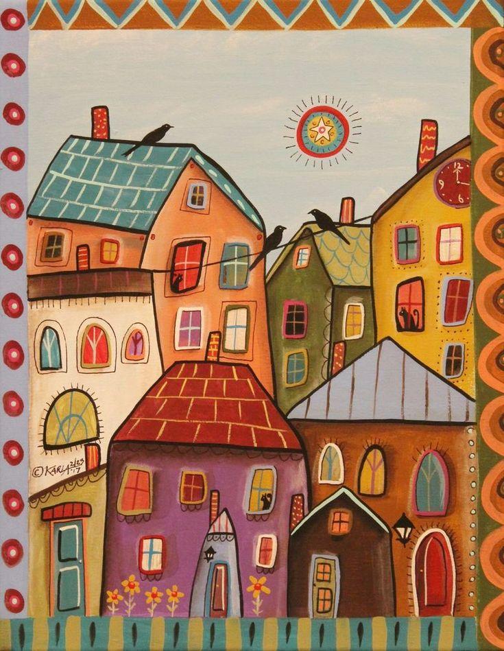 Good Afternoon 11x14 ORIGINAL CANVAS PAINTING houses city FOLK ART Karla Gerard #FolkArtAbstractPrimitive
