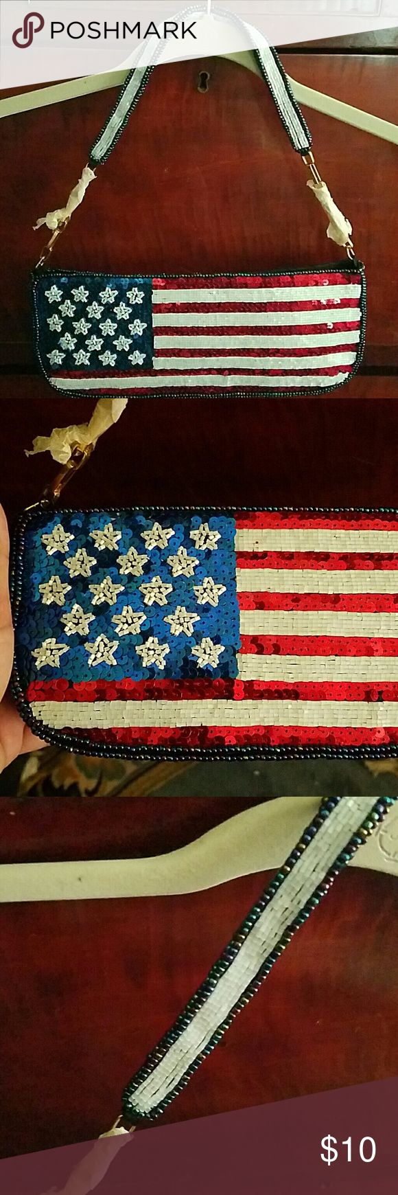 """*FINAL PRICE*American Flag purse A sequined and beaded  Anerican Flag purse. Never been used, been in storage. As you see the bead work on the top of purse has come undone. Zipper closure,  black lined interior. Approx measurements: 11"""" L,  2.5"""" W, 4"""" D JR Comeco Bags Shoulder Bags"""