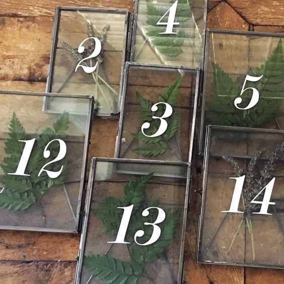 Pressed Ferns and Lavender: Fresh ferns, with their delicate leaves, and sprigs of fragrant lavender are both great elements to press and dry to make these elegant table-number displays.