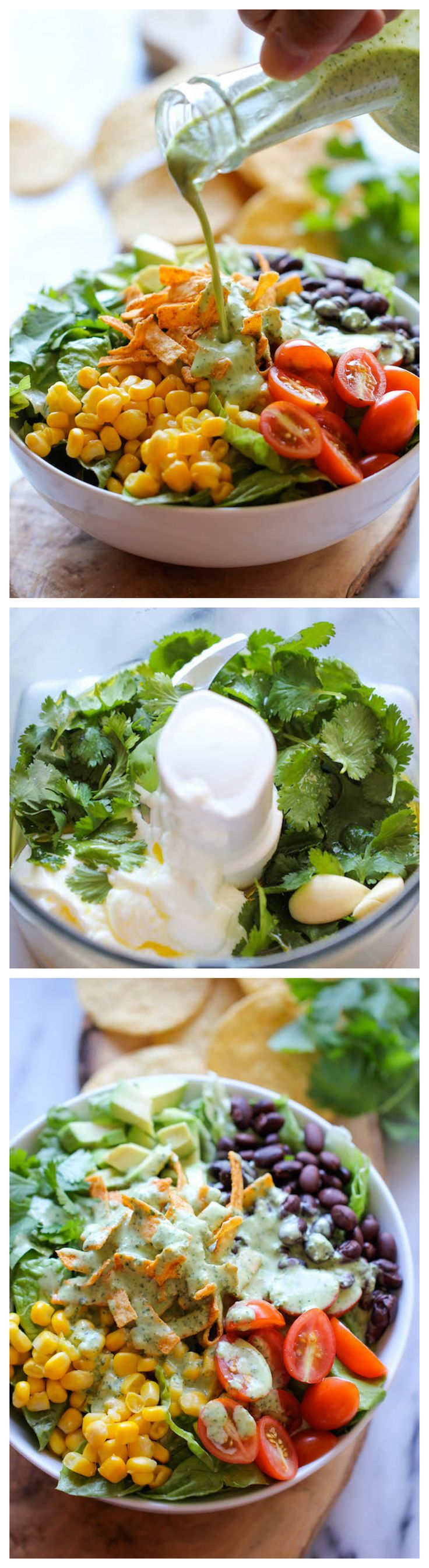 Southwestern Chopped Salad with Cilantro Lime Dressing - A tex-mex style salad with an incredibly creamy Greek yogurt cilantro dressing! @Trent Johnson Johnson Butts-Ah Rhee